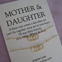 MOTHER Daughter Necklace. 50th birthday Gift Mother Daughter Necklace . 60Th BIRTHDAY Mother Daughter. Delicate Gold Eternity Necklace