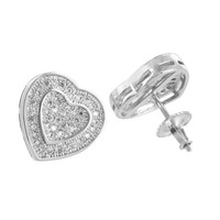 White Gold Heart Earrings Lab Diamonds 14K Finish Screw Back Unique