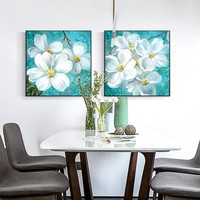 Nordic Holy Beautiful Big White Flowers Canvas Painting  Fresh Wall Art Pictures For Living Room Home Decor Posters And Prints