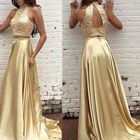 Two Piece High Neck Gold Prom Dresses