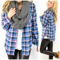 Plaid To The Bone Blue Flannel Comfy Top
