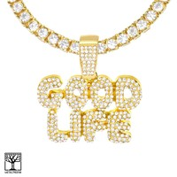 Jewelry Kay style Iced Bubble GOOD LIFE Sign Gold Plated Pendant Tennis Chain Necklace THC 3501 G