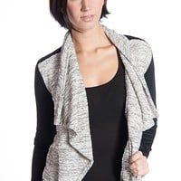 Shelly Faux Leather Knit Open Front Blazer - Ivory