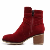Suede Wrap Buckle Ankle Boots