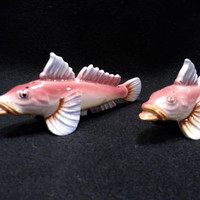 Sea Bass Salt and Pepper Shakers , Vintage Shakers, Made in Japan   (1378)