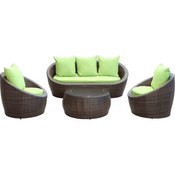 Modern Patio Furniture Avo 4 Piece Sofa Set Brown Green Cushions