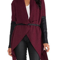 Burgundy Waterfall Tie Waist Long Sleeve Coat