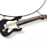 Guitar necklace from polymer clay