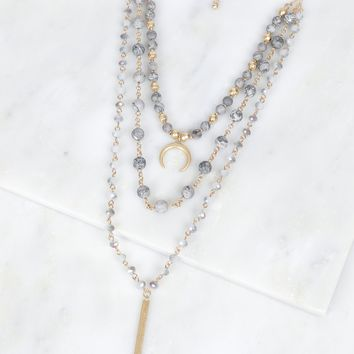 Bullhorn Beaded Necklace Grey