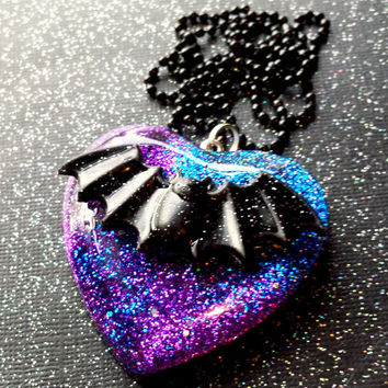Galaxy Bat Pendant / Gothic Bat / Creepy Cute / Resin Galaxy Heart Pendant / Galaxy Jewelry / Kawaii Bat / Goth Lolita / Victorian Gothic