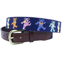 Dancing Bears Needlepoint Belt in Navy by Smathers & Branson