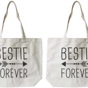 Women's Eco-friendly Bestie Forever BFF Matching Natural Canvas Tote Bag