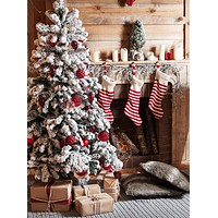 Classic Christmas Stockings Fireplace Tree Decorated Interior Printed Backdrop - 15021