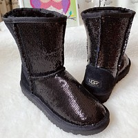 UGG new sequined men's and women's mid-cut snow boots Shoes