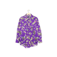 purple cowboys western shirt - vintage 80s / 90s wrangler - rodeo - cowboy - all over print pattern - button down - slim fit medium