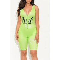 Almost There Romper Neon Green