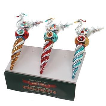 "Shiny Brite 7"" BIRD ICICLES  SET/3 Ornament Nostalgic Holiday 2019 4027777 ."