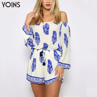 YOINS 2016 BOHO Vintage Leaf Print Off The Shoulder Playsuit Sexy Slash Neck Long Sleeve Jumpsuit Summer Beach Romper Plus Size