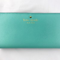 Kate Spade Mikas Pond Stacy Bifold Leather Wallet WLRU1691 Soft Aqua Turquoise Green