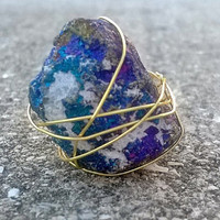 Chalcopyrite Peacock Ore Wire Wrapped Mineral Stone Rock Ring
