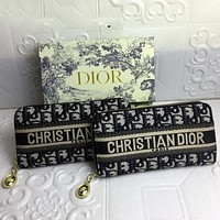 Dior CD Hot Sale Long Zipper Wallet Clutch Coin Purse Fashion Ladies Clutch Wallet