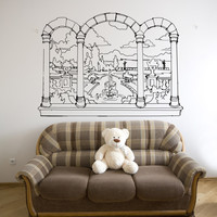 Vinyl Wall Decal Sticker Castle Window View #OS_AA1067