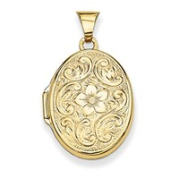 14K Yellow Gold Scrolled Floral Oval Locket Pendant, 23mm x 21mm