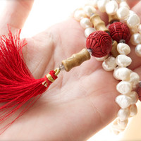 Extra long mala necklace silver clasp 108 bead yoga White Pearl Red Cinnabar Labradorite Wood Tassel Meditation Hill tribe Hippie Chinese