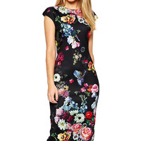 Floral printed Short Sleeve Midi Dress