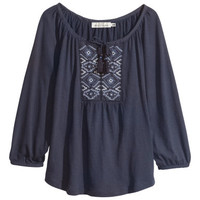 H&M - Embroidered Top - Dark blue - Ladies