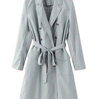 Gray Lapel Double Breasted Tie Waist Trench Coat