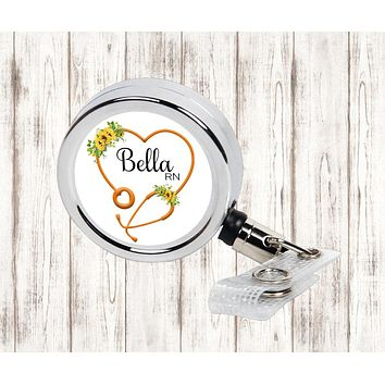 Personalized Heart Stethoscope with Sunflowers Retractable Badge Reel, ID Holder