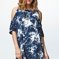 Motel Rocks Savannah Tie-Dye Cold Shoulder Dress - Womens Dress - Blue