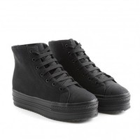 Missguided - Mirena High Top Flatform Trainers In Black