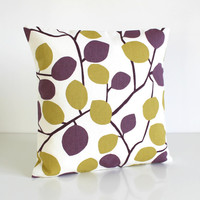 Throw Pillow Cover, 16x16 Purple Cushion Cover, 16 Inch Accent Pillow - Nordic Leaves Aubergine