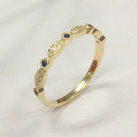 Pave Diamond Blue Sapphire Wedding Band Half Eternity Anniversary 14K Yellow Gold Art Deco Antique