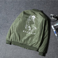 Tide brand RIPNDIP cartoon middle finger cheap cat male and female couple windbreaker jacket Harajuku wind baseball jacket Green