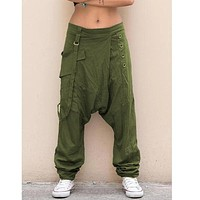 Women Trousers Pure Color Low Waist Button solid color Small Foot Crotch harem pants summer ladies casual full length pants lady