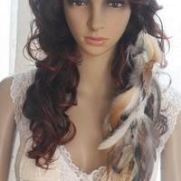2 Pieces/One set   49a1-34   Chain   Natural   Feathers   Hair   Extension   Hair   Clip   lhf131011