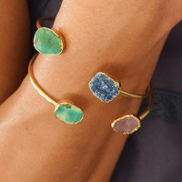 Druzy and Turquoise Cuff