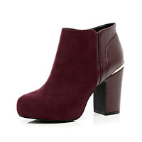 River Island Womens Dark red concealed platform ankle boots