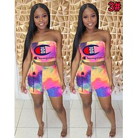 Champion Summer Newest Women Casual Tie-Dye Gradient Strapless Top Shorts Set Two-Piece 3#