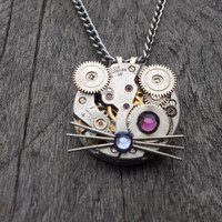 Reserved for Mim Bidlack: Clockpunk Steampunk Watch Movement & Gears Kitten Face Pendant Necklace with Swarovski Crystals on Curb Link Chain