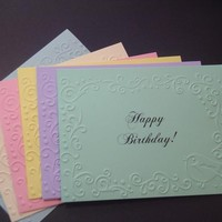 Set of 6 Pastel Embossed Birthday Cards or Note Cards on Handmade Artists' Shop