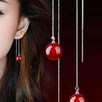 Deep Red Agate Gemstone Bead Thread Sterling Silver Earrings For Woman