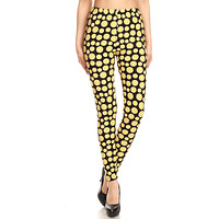Women's 3 X 5X Lemon Fruit Pattern Printed Leggings
