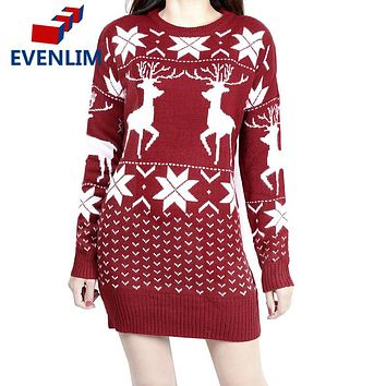 EVENLIM 2017 christmas knitted cashmere sweater dress women warm cute long sleeve ladies sweaters with deers