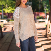 Crochet Never Let Me Go Sweater, Taupe