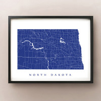 North Dakota Map - Custom Poster Print