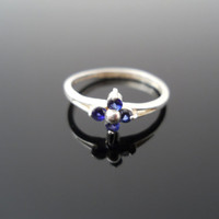 Sapphire Ring, Silver Ring, Pinky Ring, Sapphire Flower Ring, Sterling Ring, Child Ring, Size 3.5 Ring, 925 Ring, Silver Flower Ring